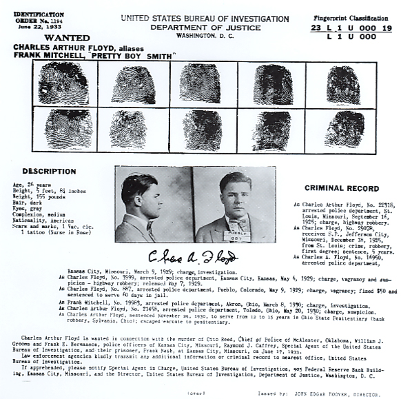"""FBI """"Wanted"""" form for Pretty Boy Floyd. In the lower right hand corner, you can see that the issue was signed by John Edgar Hoover, director of the FBI"""