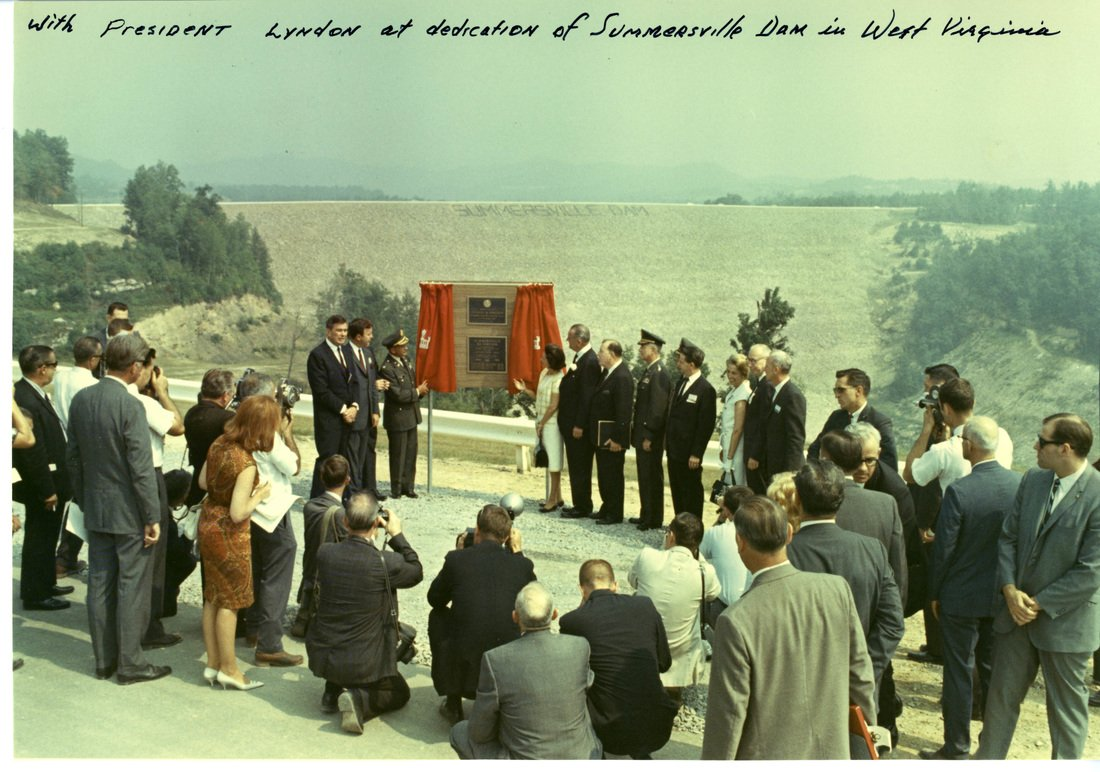 Dedication ceremony attended by President Johnson, Sen. Byrd, Sen. Randolph, and the rest of West Virginia's congressional delegation.