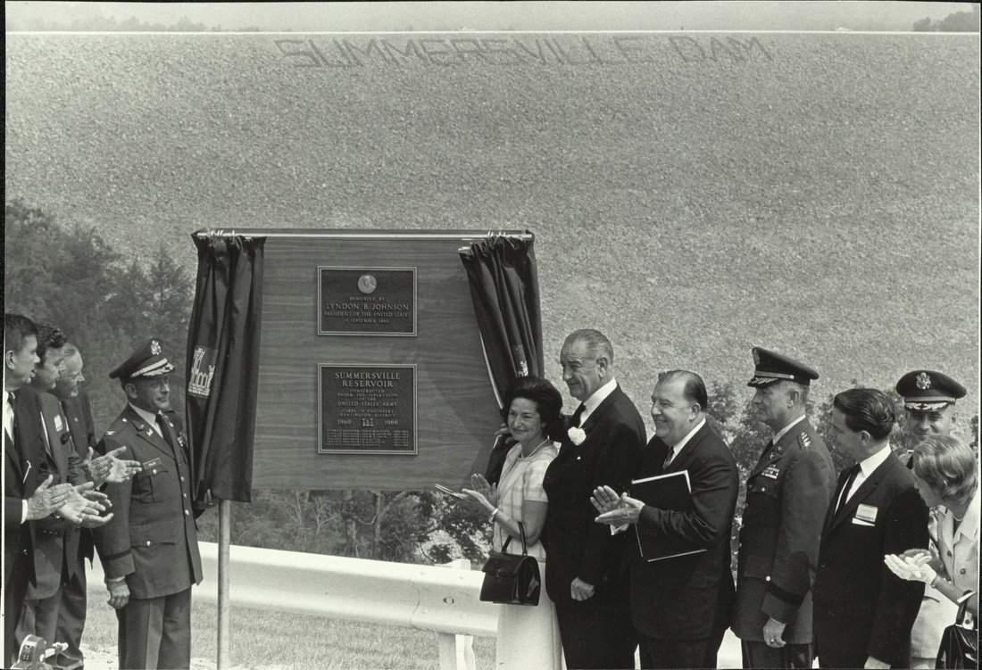President Lyndon Johnson at the dedication ceremony for Summersville Dam.1