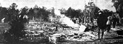 Carrier house being burned to the ground in the 1923 attacks in Rosewood.