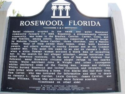 Rosewood historical marker sign.
