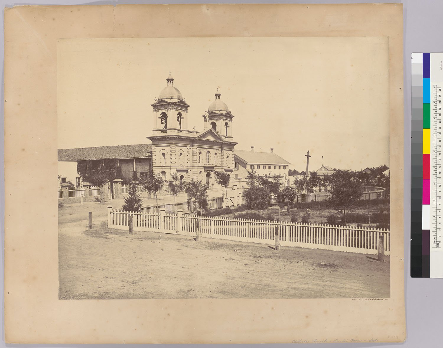 The expanded college in 1863, in a photograph from the famous Carleton E. Watkins (Online Archive of California).