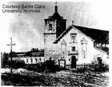 Oldest known daguerrotype of Mission Santa Clara. Taken in 1854. (Courtesy of Santa Clara University)