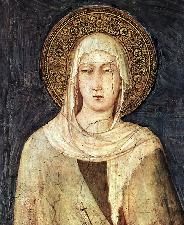 A 14th century fresco of Clare of Assisi, the Catholic saint for whom the mission was eventually named.