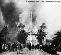 The 1926 fire that destroyed the mission/chapel was caused by faulty electrical wiring. (Courtesy of Santa Clara University).