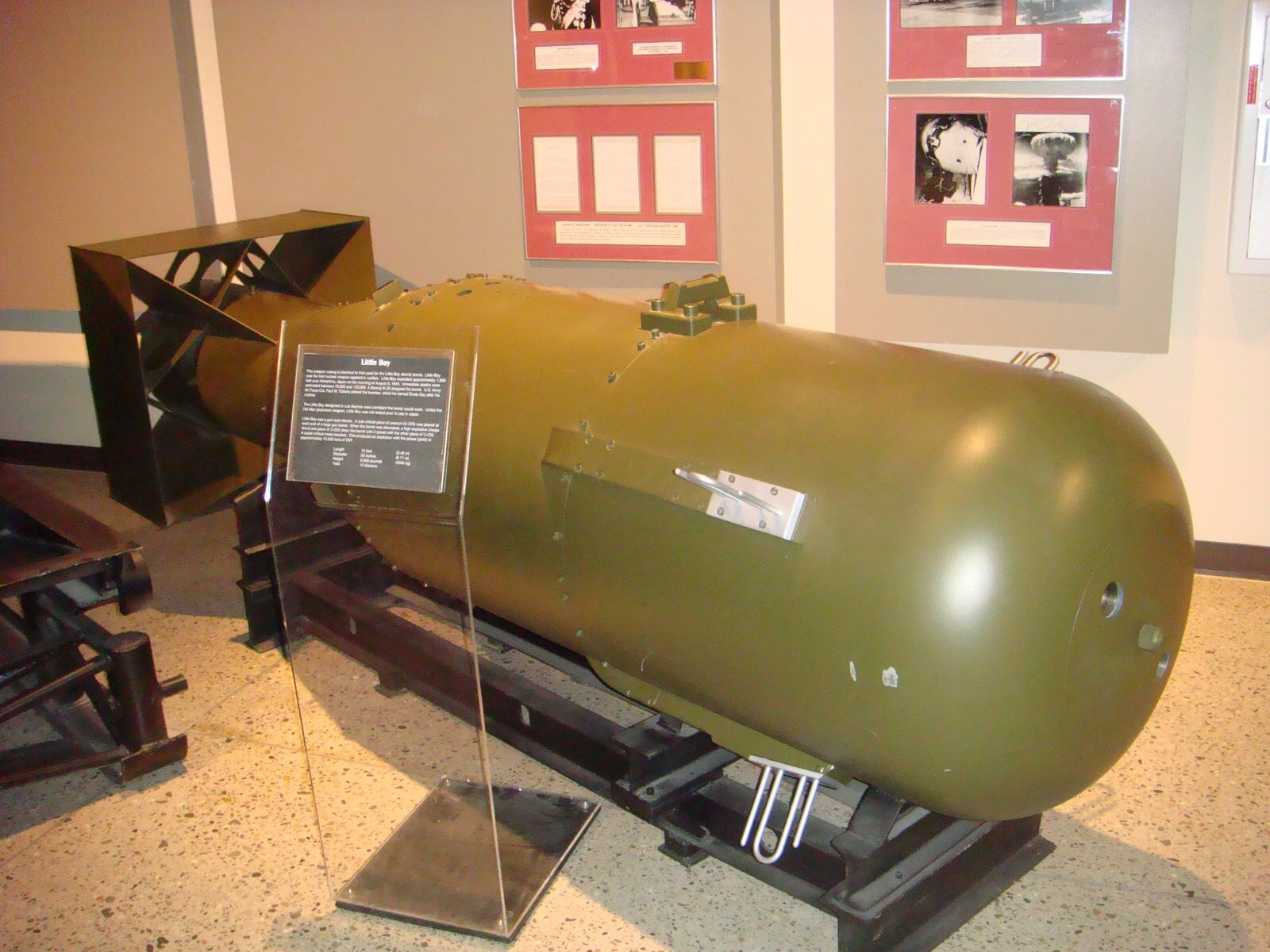 This replica of the Little Boy atomic bomb is displayed at the museum. Photo Credit: https://commons.m.wikimedia.org/wiki/File:Little_Boy,_National_Museum_of_Nuclear_Science_%26_History...