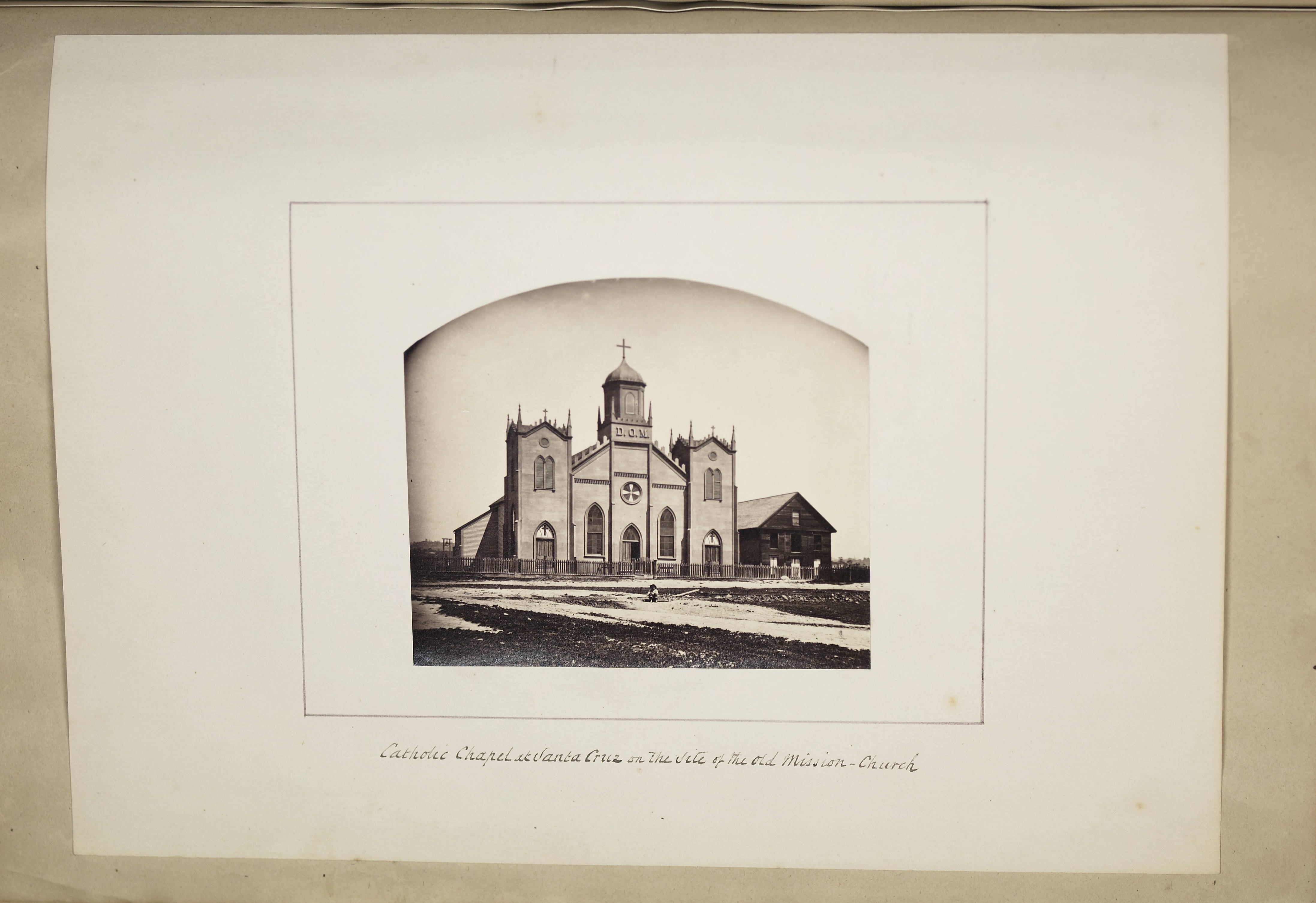 An 1870s photograph of the Catholic church built on the site of the Mission, taken by German artist and photographer Edward Vischer (Claremont Colleges).