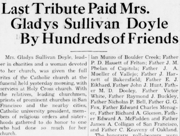 A newspaper clipping from July 6, 1933, describing the funeral of Gladys Sullivan Doyle at the replica mission the previous day. Doyle donated all costs for the reconstruction during the previous two years, on the condition that she be buried at the new c