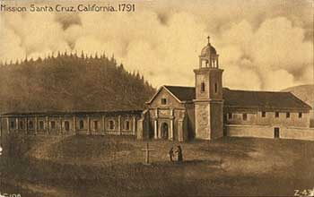 An 1850s painting by Leon Trousset which still hangs today in the mission. As the oldest illustration of Santa Cruz, it was instrumental in creating the present-day scale replica.