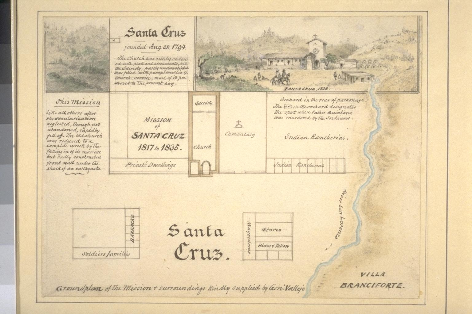 An 1878 sketch of Mission Santa Cruz's layout. By this time, most of the original structures had fallen victim to multiple earthquakes.