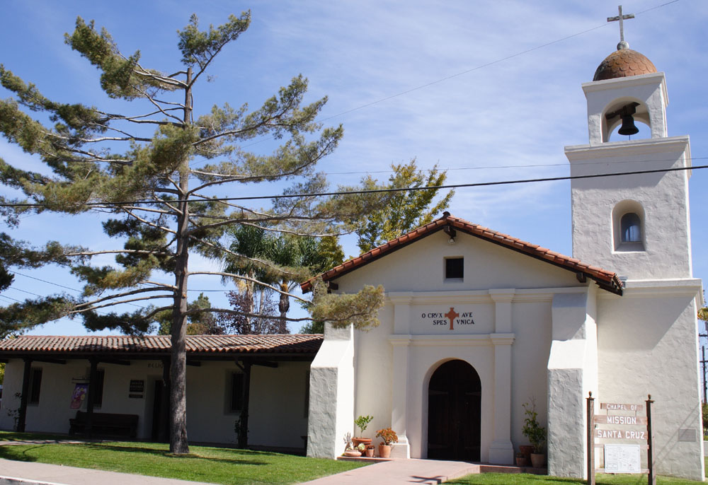 The replica mission near the original site is approximately half the Mission's original size.