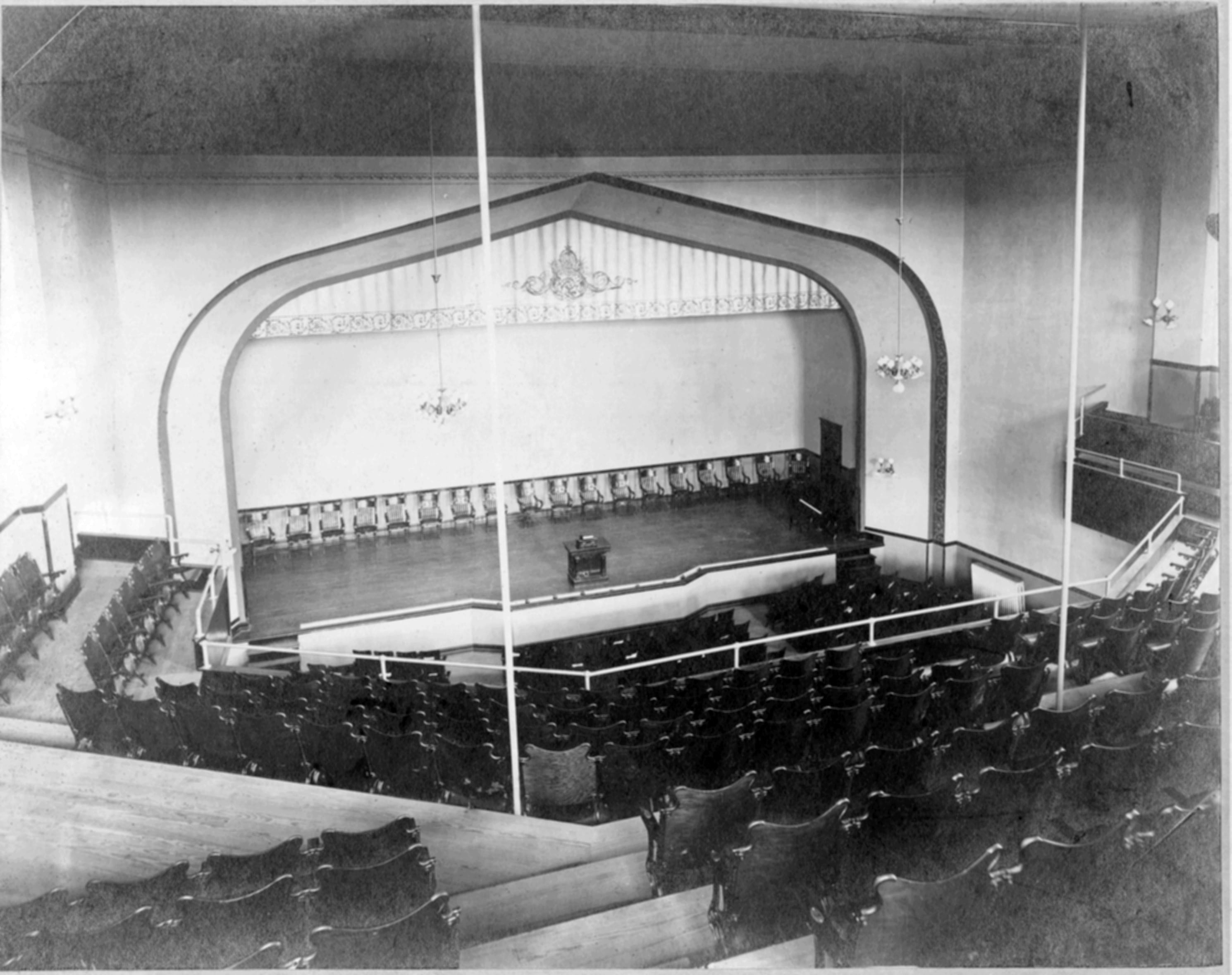 The 1907 expansion included the addition of a 1,000-seat auditorium used for student productions and other shows. It was shuttered in 1992 with the opening of the Joan C. Edwards Performing Arts Center.