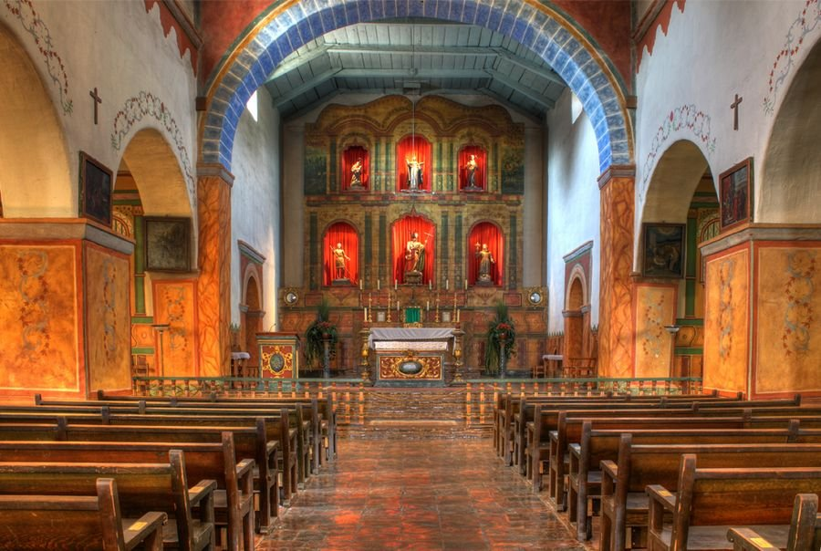 The chapel interior, which is considerably larger than most missions.