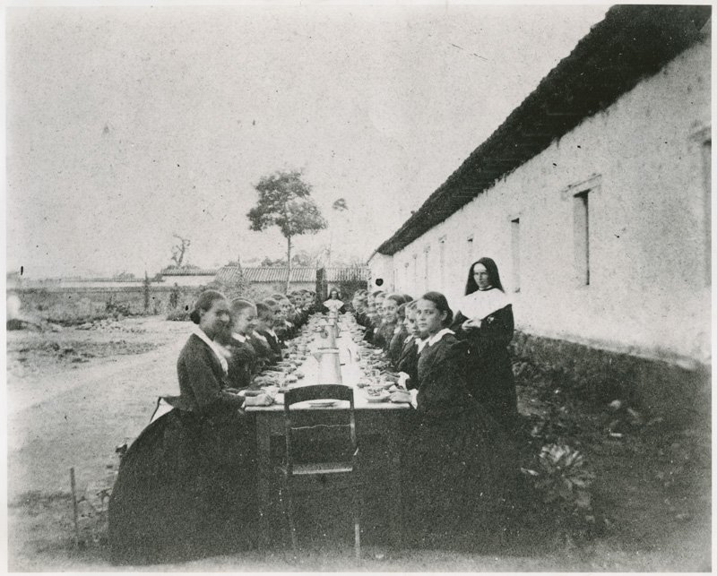 A girls' class at San Juan Bautista's Catholic school in the 1860s (CA State Library).