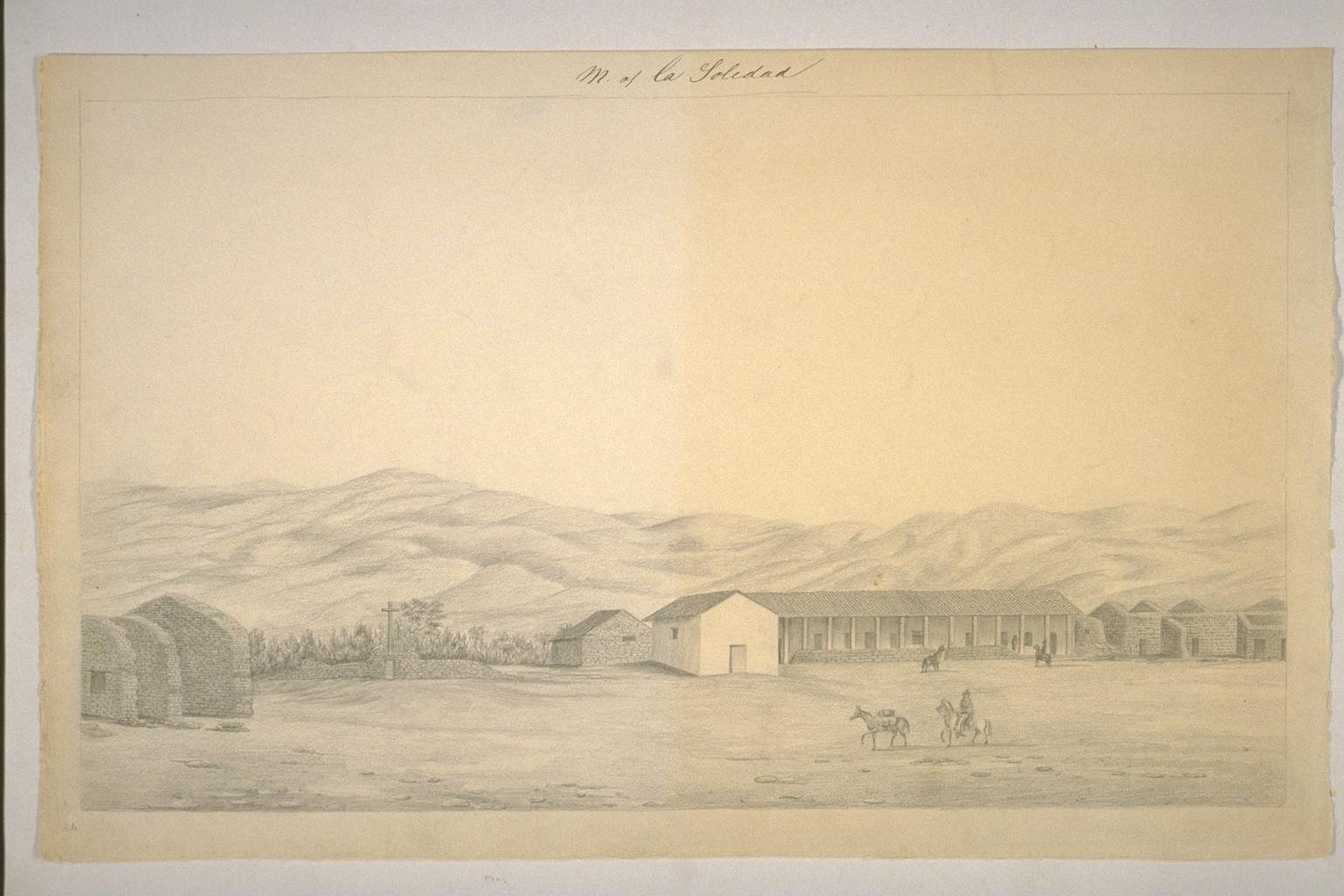 Henry Miller's sketch of Soledad in 1856. His description of the mission's decrepitude aptly summarizes it's condition for much of the next century, before it was restored with funds from the Native Daughters of the Golden West in thr 1950s.