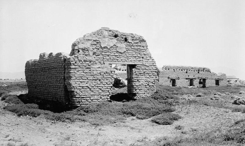 Ruins of the church in 1898. Without care and upkeep, adobe walls crumble quickly when exposed to the ravages of time and weather.