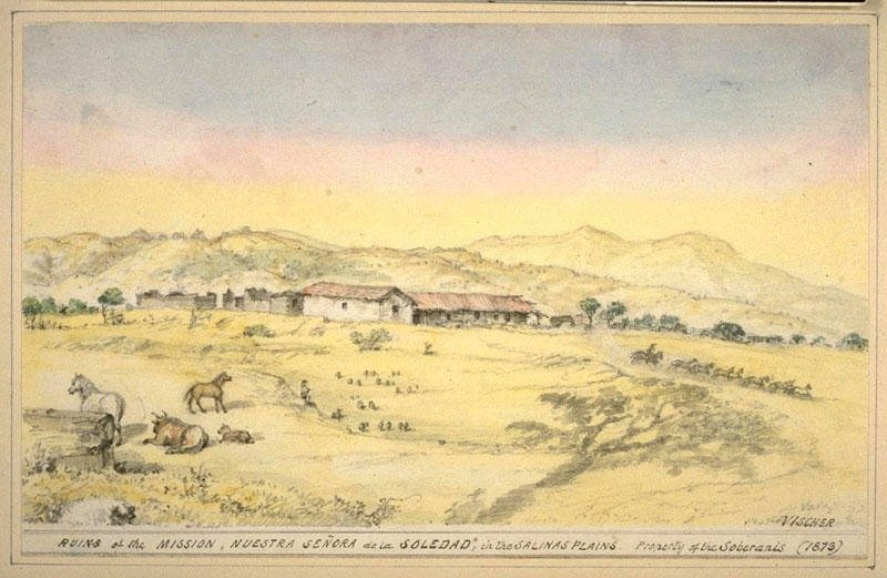 Edward Vischer's depiction of the mission in 1873. The white chapel at the center was the only building consistently maintenanced after ownership passed out of Franciscan hands in thr 1830s.