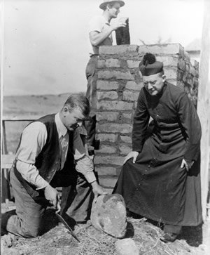 Harry Downie working at the Carmel Mission in 1939. He was instrumental in restoring a number of missions, but is particularly reverenced for his work at Carmel. Soledad Mission would be one of his last.