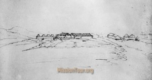 Mission Soledad as it looked in an 1850 sketch.