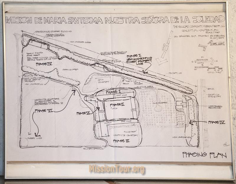 Map of phasing plan for restoration of Mission Soledad, currently displayed on the museum wall. With further funds, more of the mission can be rebuilt.