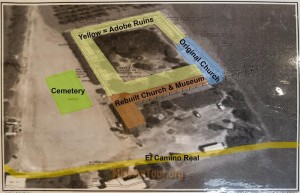 Aerial shot of ruins with overlay of mission structures. More funds are needed to rebuild the classic mission quadrangle.