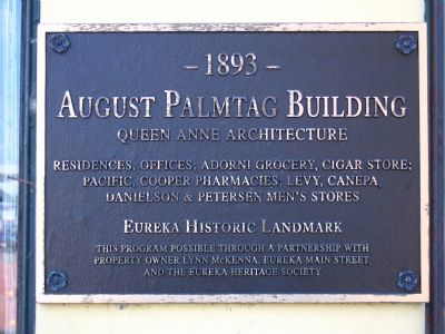 Historical Plaque on the August Palmtag Building