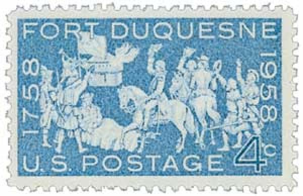 In 1958, the Fort Duquesne stamp was released in Pittsburgh. This marked 200 years after the fort was burned and abandoned by the French at the juncture of the three rivers.