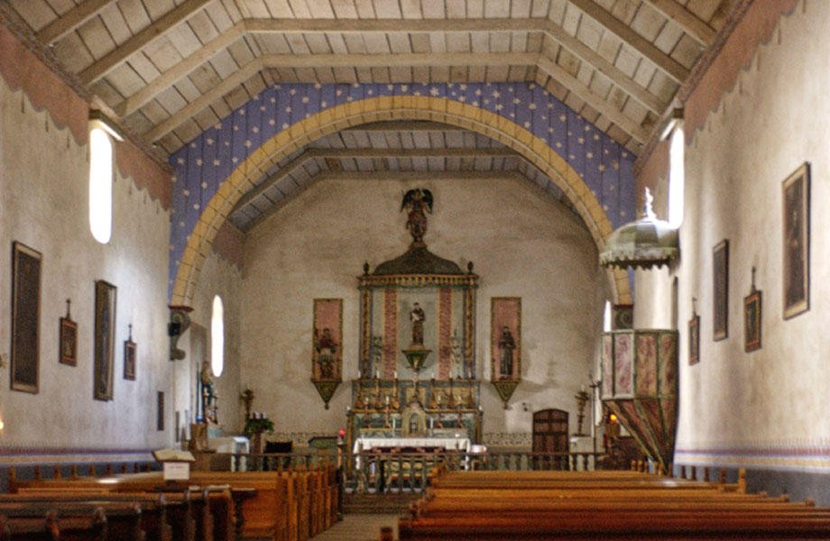 The interior of the church itself. Some of the walls were once decorated with paintings by the Indian neophytes.