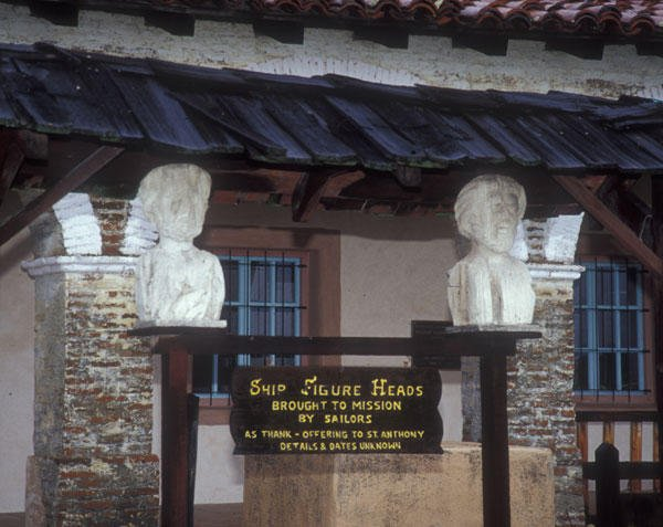 The figureheads from two colonial ships remain at the museum, supposedly gifted by thankful sailors to the mission's padres.