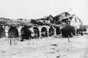 Ruins of San Antonio de Padua in 1883. By mission's final priest of the 19th century died that year, and only two Native Americans remained living on the site.