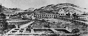 Sketch of how the mission looked in 1843, after years of neglect. Once boasting a population of over 1200, the neophytes had dwindled to a mere 35 families due to mismanagement by the Mexican government.