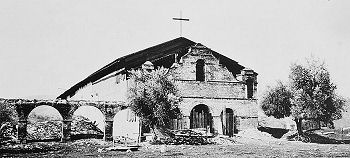The mission in 1910 following restoration by the California Historic Landmarks League. It took several years to restore just the church--the rest of the buildings would not be rebuilt until 1948-1952.