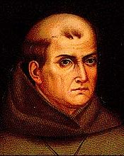 Father Junipero Serra, founder of the California missions. He personally rang the bell that signaled the establishment of San Antonio de Padua. Today he is a controversial figure, viewed as a symbol of genocide by some native tribes.