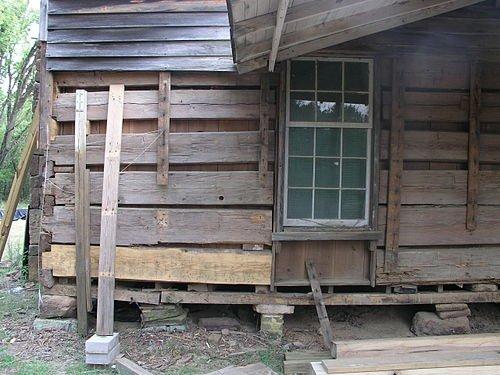 The original northeast corner of the cabin