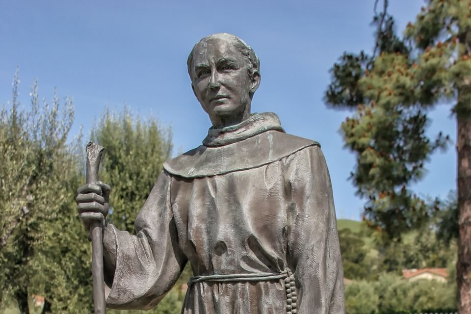 A statue depicting San Miguel Arcangel's founder, Padre Lasuen, at Mission San Jose in Fremont, California. Photo by Betsy Malloy.