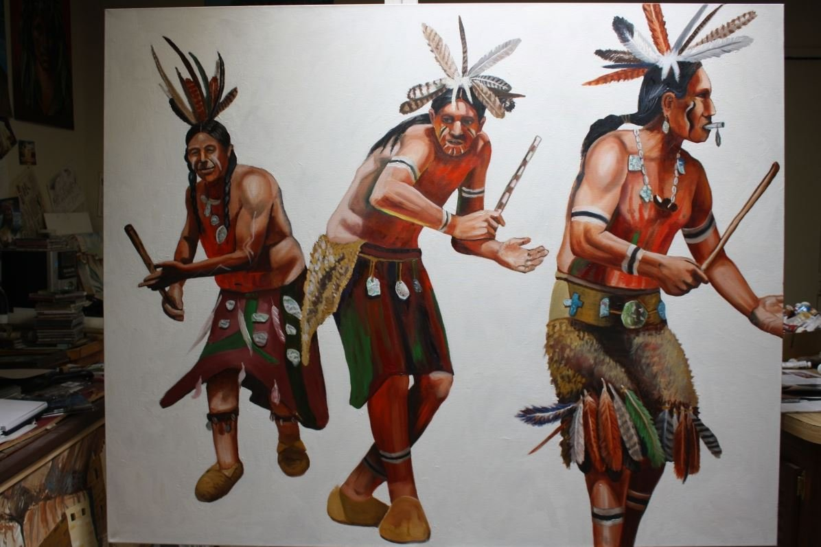 A depiction of Salinan and Ohlone dancers, in a contemporary painting by William Hatcher (source below). Hatcher has finished a number of paintings of San Miguel Arcangel and related subjects.