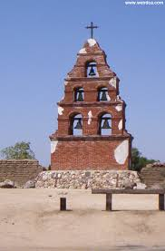 "The original bell tower, on the road just outside of the mission. Called a ""campanario,"" the bell tower was an essential part of mission achitecture."