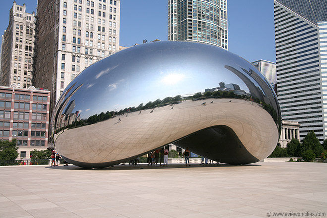 """The Cloud Gate is commonly known as """"The Bean"""" because of its kidney-bean shape."""