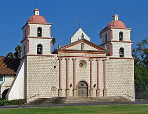 Mission Santa Barbara church as it stands today. The mission is the only one possessing two belltowers, though original plans called for only one.