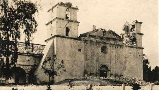 Damage done to Mission Santa Barbara from 1925 earthquake