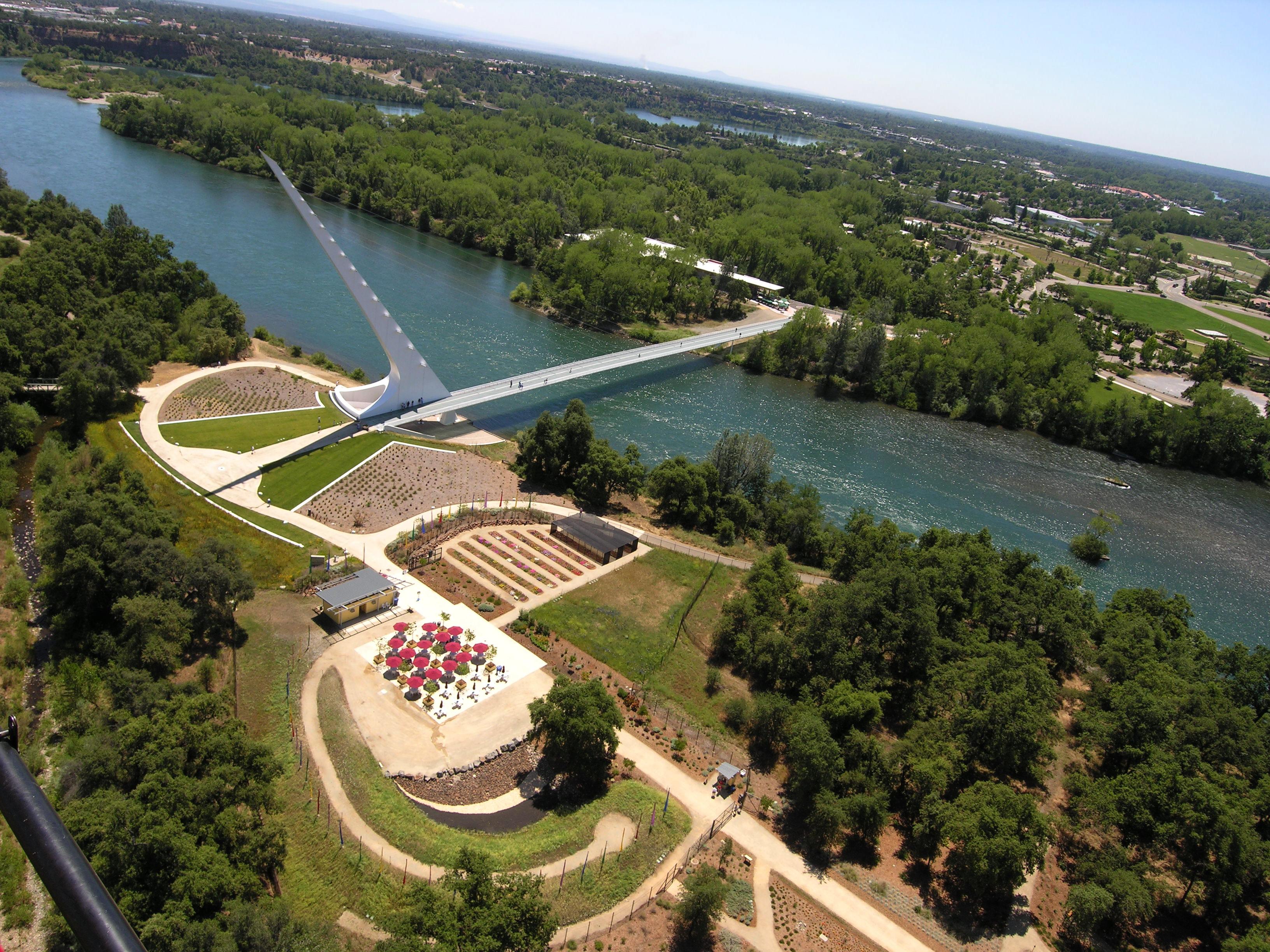 Aerial view of the Sundial Bridge