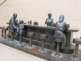 "The Soda Fountain is the centerpiece of the ""Streetscape"" installation."