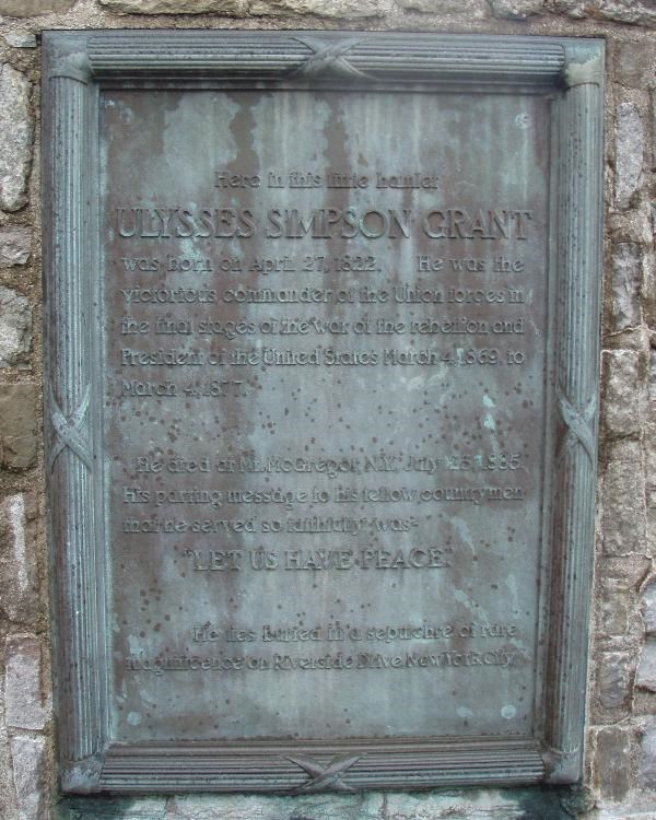 A marker with information about Ulysses S. Grant.