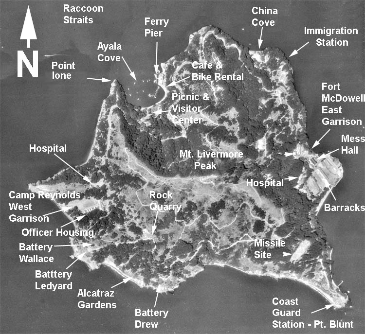 1950s/1960s aerial photo of Angel Island, its geographical features and military points of interest