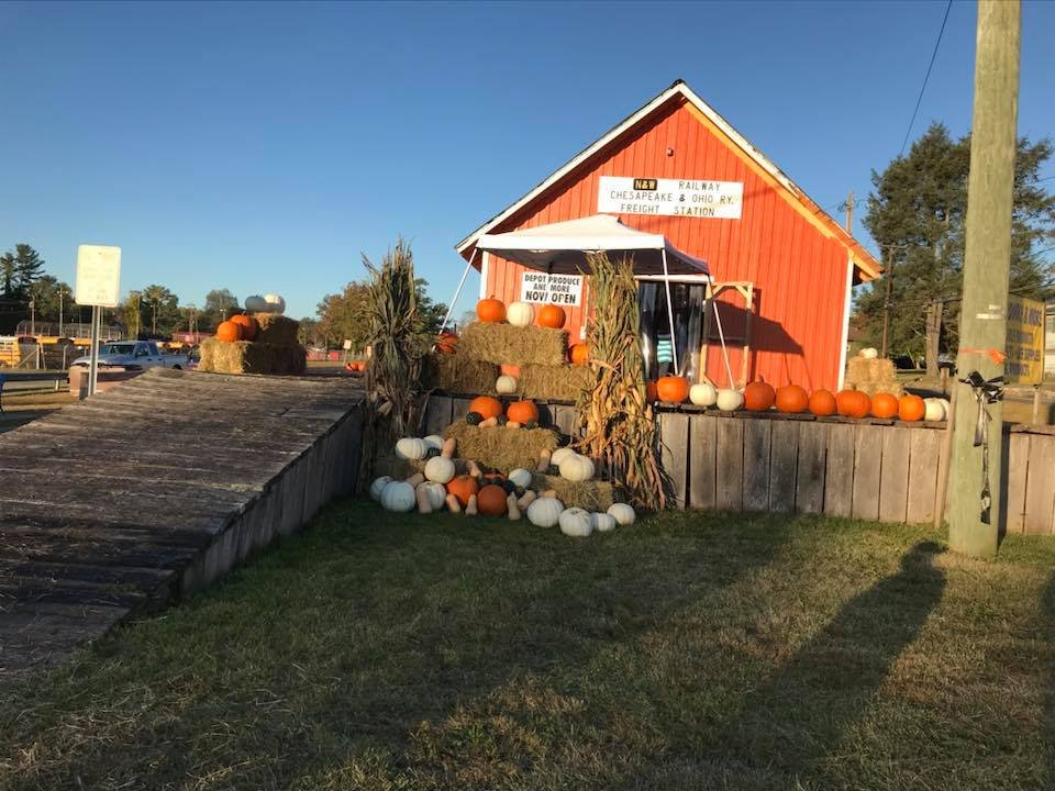 The restored station, operating as Depot Produce & More, decorated for Halloween in October 2017. (Depot Produce Facebook)
