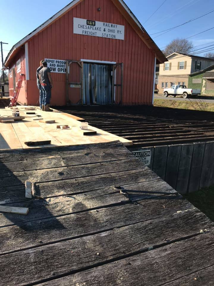 Restoration of the passenger and freight platform, 2018. (Depot Produce Facebook)