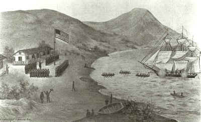 Though inaccurate, this sketching made soon after the battle, shows the flag raising in Yerba Buena