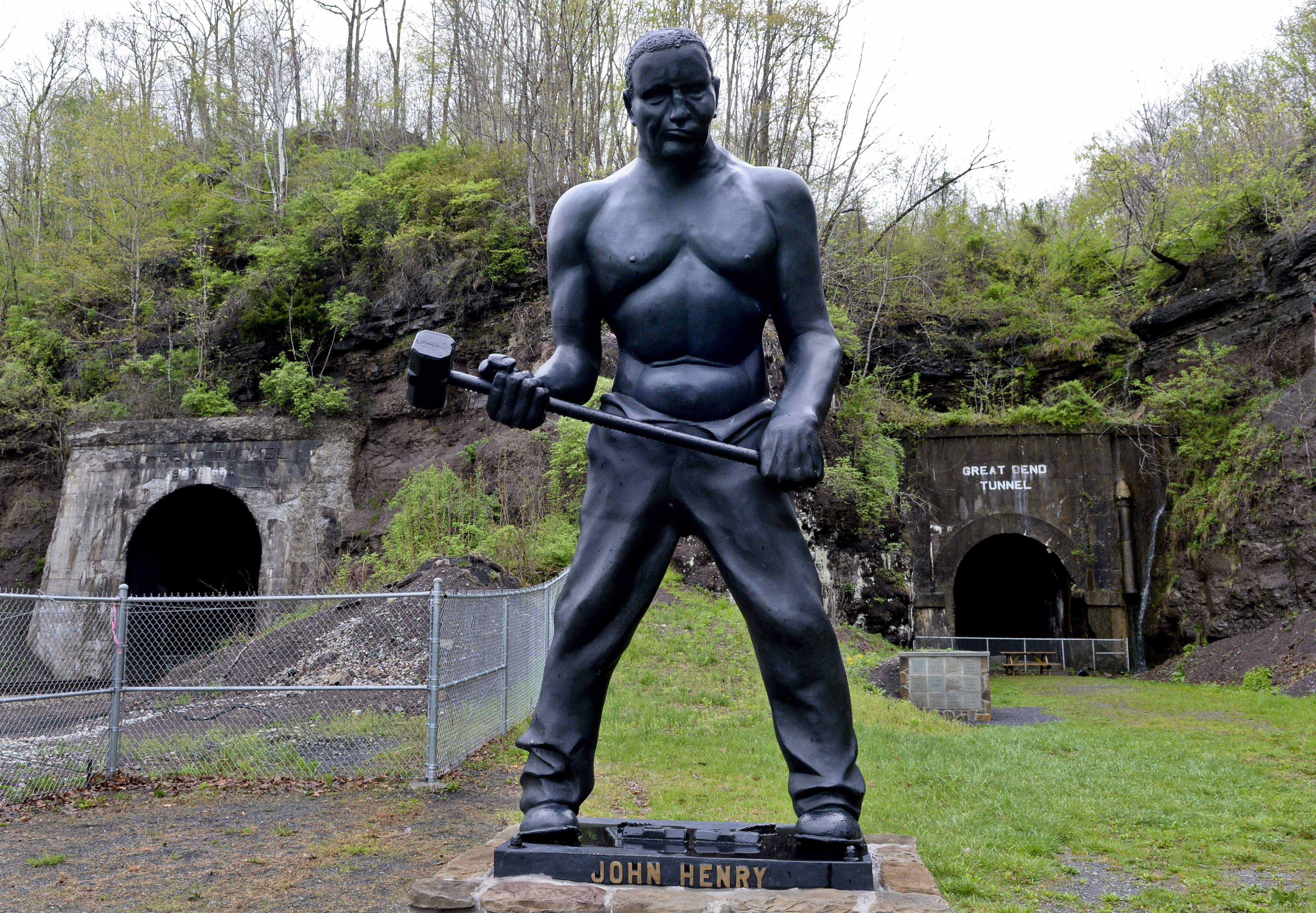John Henry statue at the Great Bend Tunnel