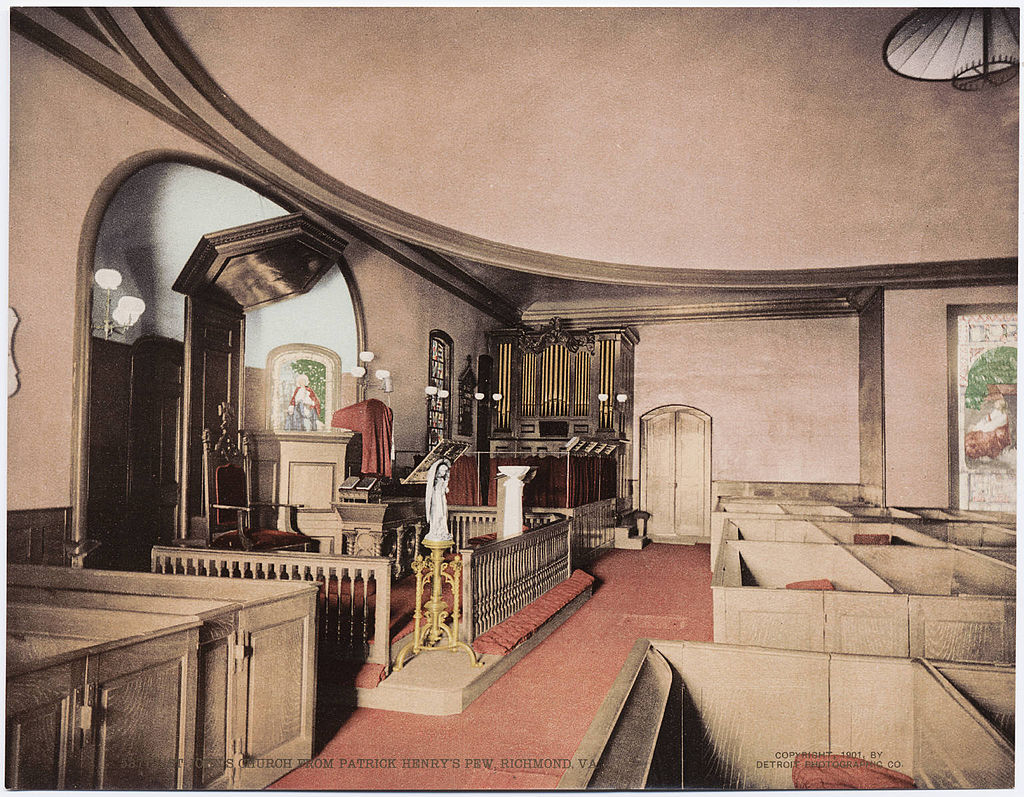 "Interior of the church in 1901 as seen from ""Patrick Henry's Pew."" Courtesy of Beinecke Rare Book & Manuscript Library at Yale University"