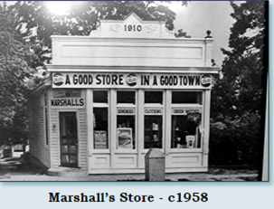The 1910 house as it was in 1958 when it was Marshall's Store.